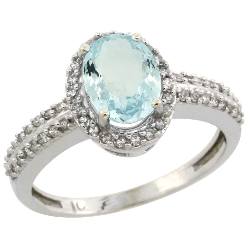 10k White Gold Natural Aquamarine Ring Oval 8x6mm Diamond Halo, sizes 5-10