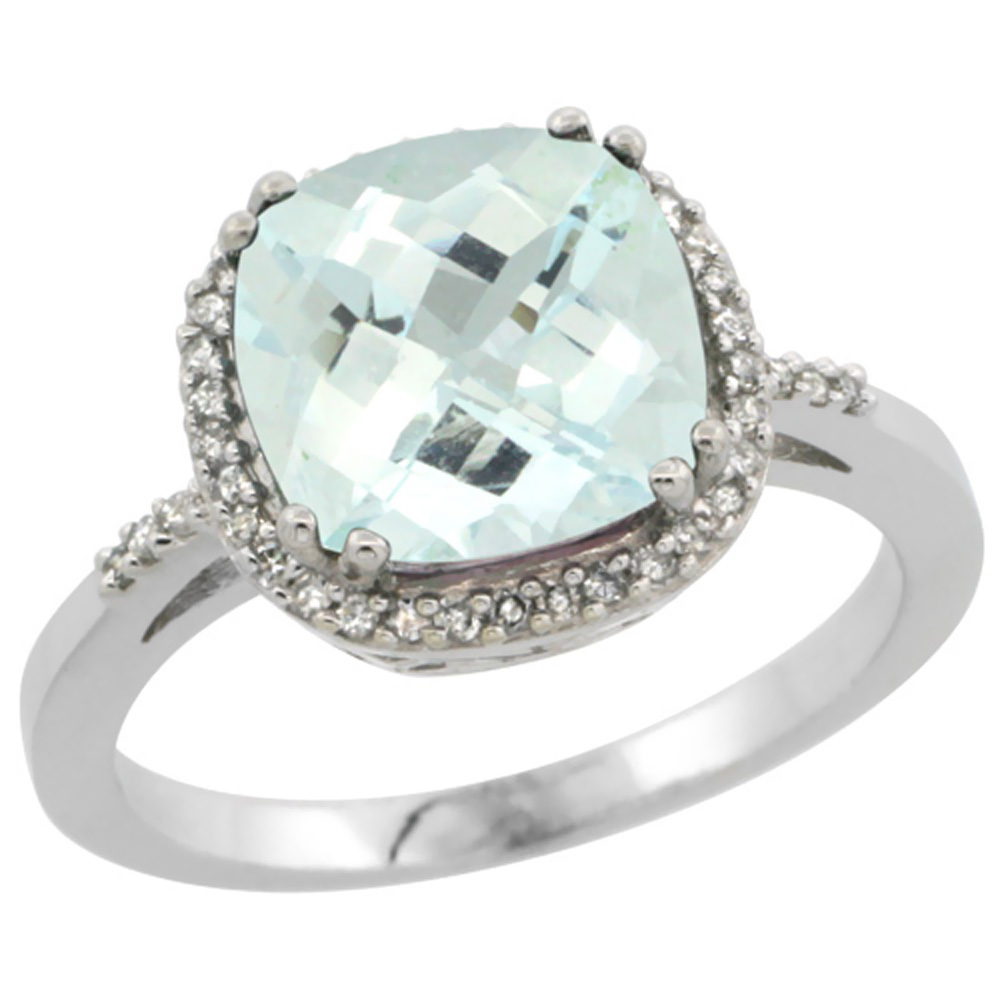 14K White Gold Diamond Natural Aquamarine Ring Cushion-cut 9x9mm, sizes 5-10