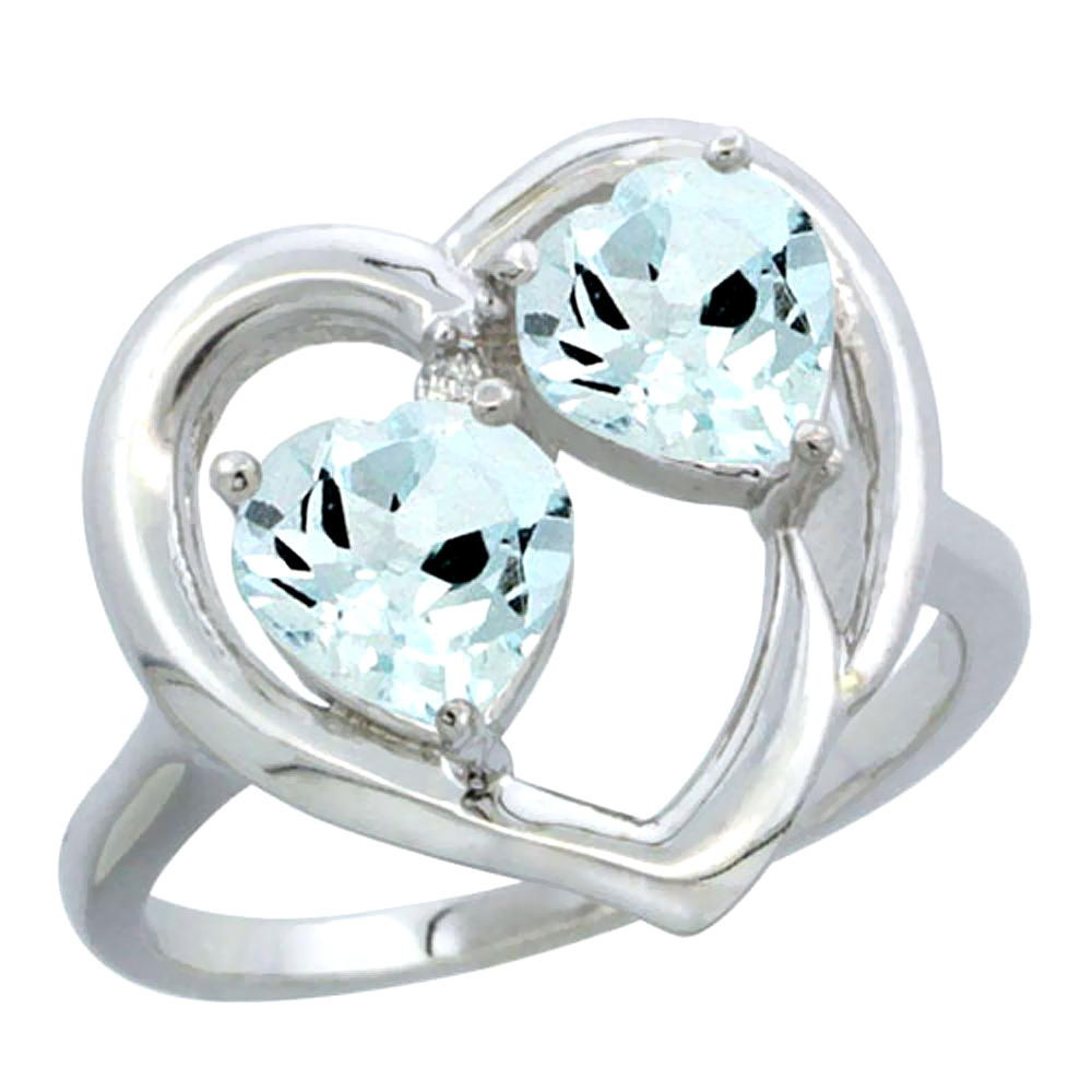 10K White Gold Diamond Two-stone Heart Ring 6mm Natural Aquamarine, sizes 5-10