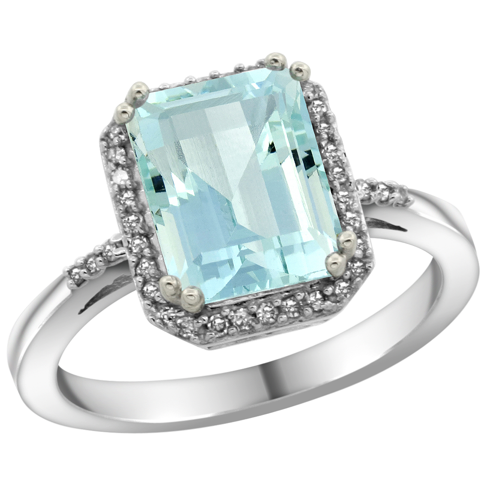14K White Gold Diamond Natural Aquamarine Ring Emerald-cut 9x7mm, sizes 5-10