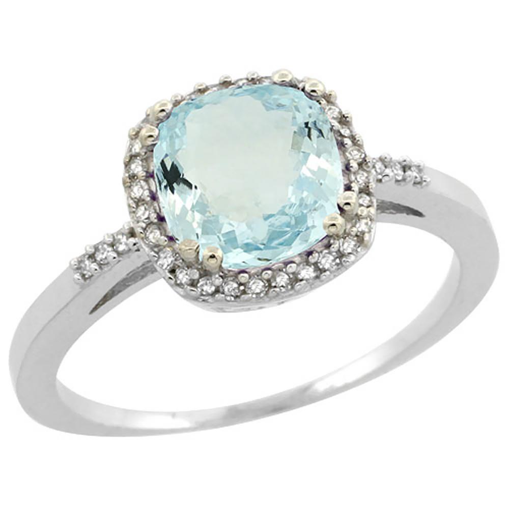 14K White Gold Diamond Natural Aquamarine Ring Cushion-cut 7x7mm, sizes 5-10
