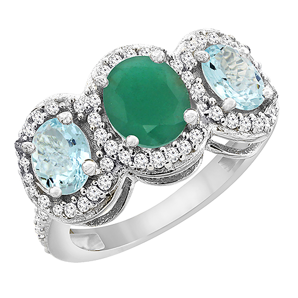 10K White Gold Natural Cabochon Emerald & Aquamarine 3-Stone Ring Oval Diamond Accent, sizes 5 - 10