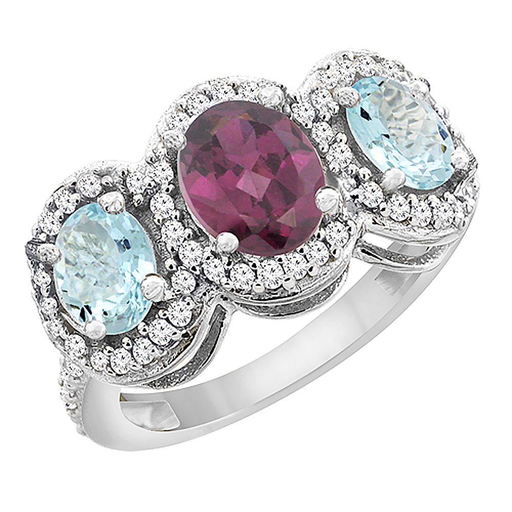 10K White Gold Natural Rhodolite & Aquamarine 3-Stone Ring Oval Diamond Accent, sizes 5 - 10