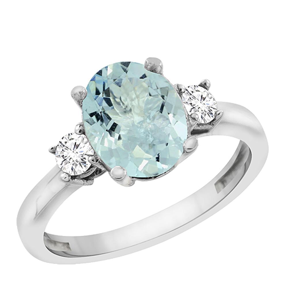 14K White Gold Natural Aquamarine Engagement Ring Oval 10x8 mm Diamond Sides, sizes 5 - 10
