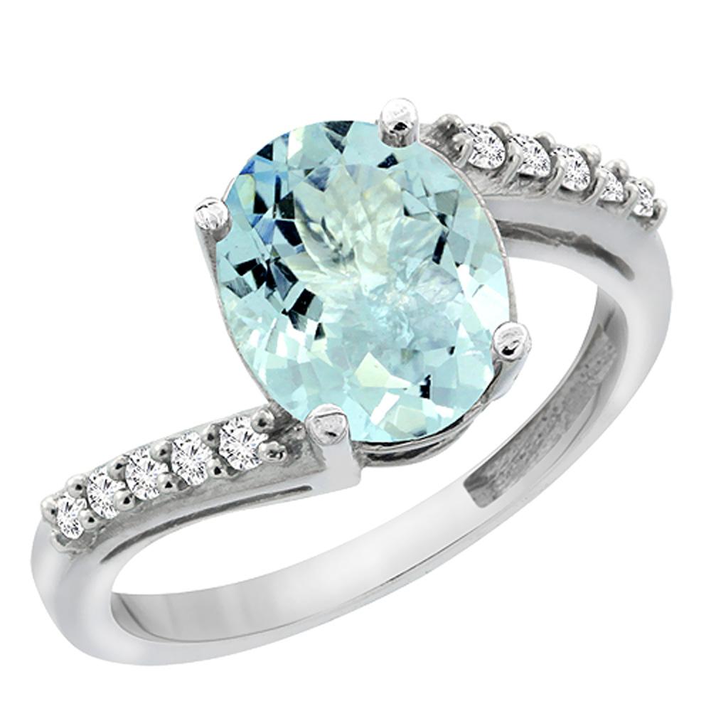 14K White Gold Diamond Natural Aquamarine Engagement Ring Oval 10x8mm, sizes 5-10