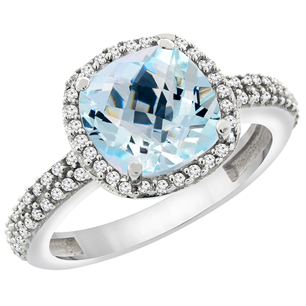 14K White Gold Natural Aquamarine Cushion 8x8 mm with Diamond Accents, sizes 5 - 10