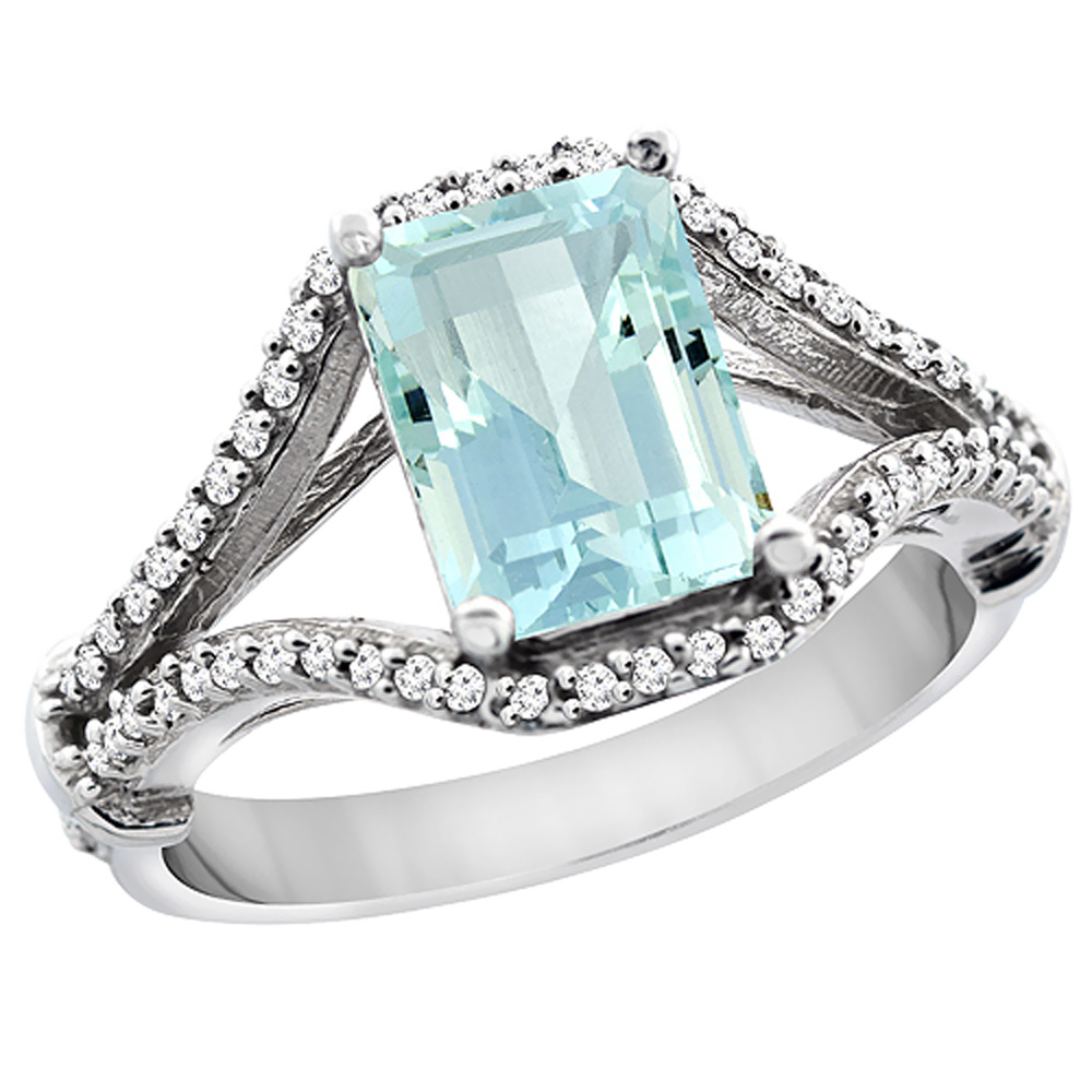 14K White Gold Natural Aquamarine Ring Octagon 8x6 mm with Diamond Accents, sizes 5 - 10