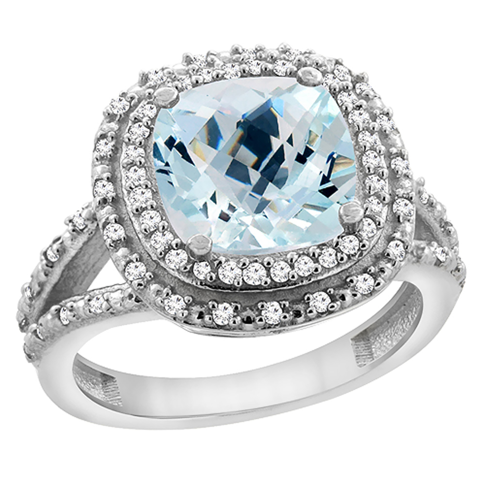 14K White Gold Natural Aquamarine Ring Cushion 8x8 mm with Diamond Accents, sizes 5 - 10