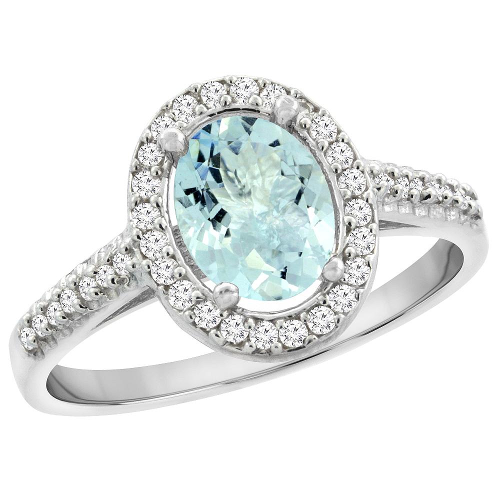 14K White Gold Natural Aquamarine Engagement Ring Oval 7x5 mm Diamond Halo, sizes 5 - 10