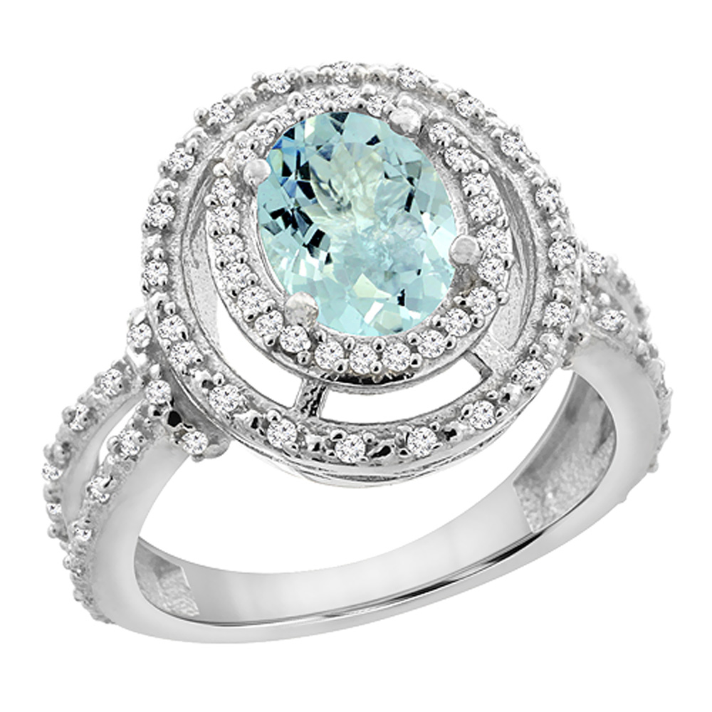 14K White Gold Natural Aquamarine Ring Oval 8x6 mm Double Halo Diamond, sizes 5 - 10