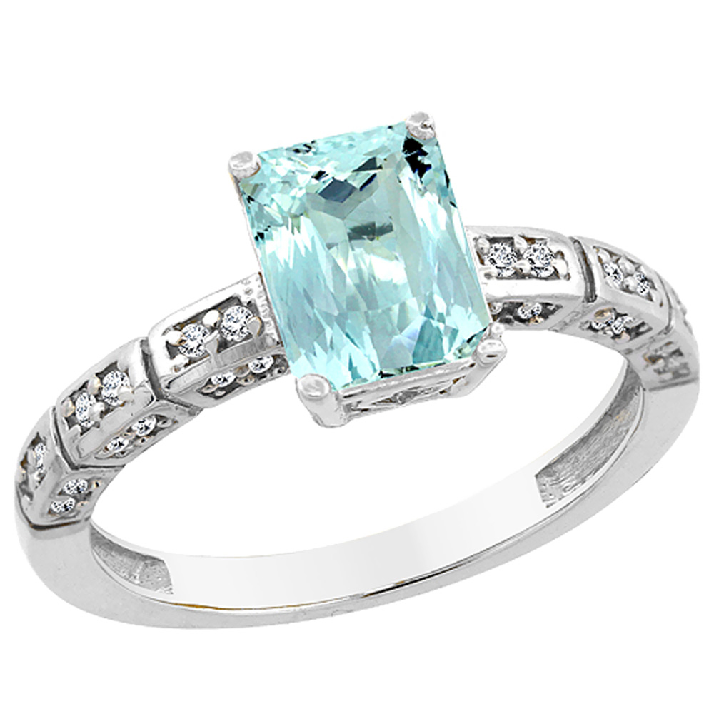 14K White Gold Natural Aquamarine Octagon 8x6 mm with Diamond Accents, sizes 5 - 10