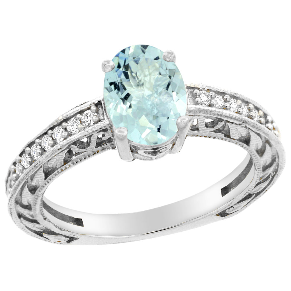 14K Gold Natural Aquamarine Ring Oval 8x6 mm Diamond Accents, sizes 5 - 10