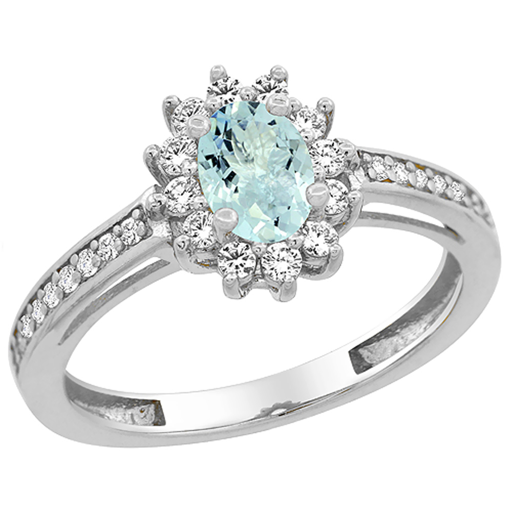 14K White Gold Natural Aquamarine Flower Halo Ring Oval 6x4mm Diamond Accents, sizes 5 - 10