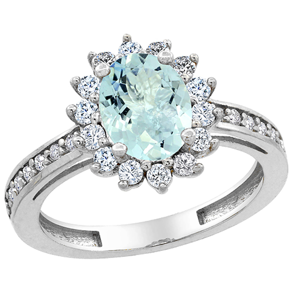 14K White Gold Natural Aquamarine Floral Halo Ring Oval 8x6mm Diamond Accents, sizes 5 - 10