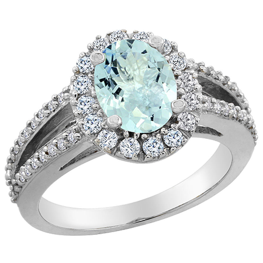 14K White Gold Natural Aquamarine Halo Ring Oval 8x6 mm with Diamond Accents, sizes 5 - 10