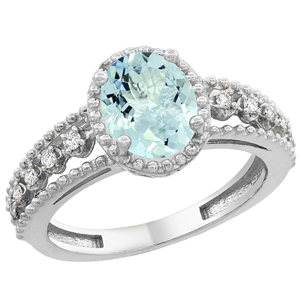14K White Gold Natural Aquamarine Ring Oval 9x7 mm Floating Diamond Accents, sizes 5 - 10