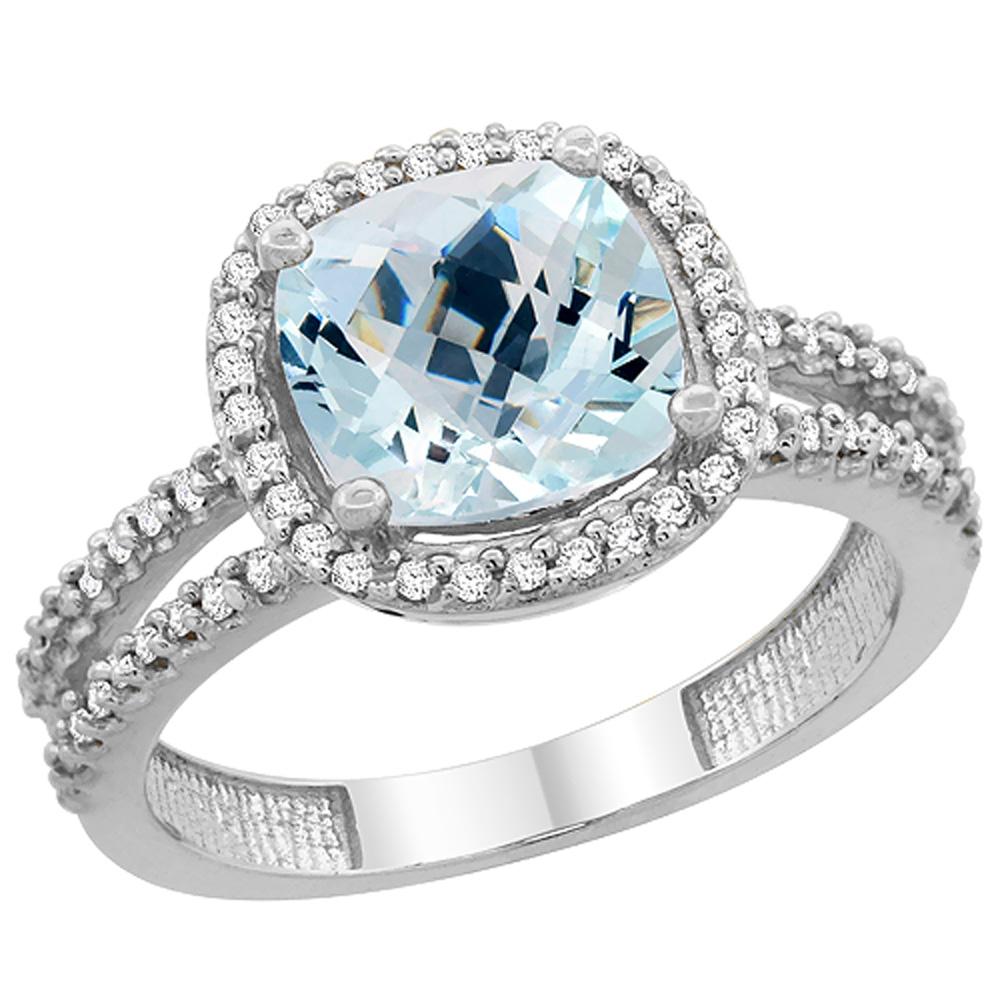 14K White Gold Natural Aquamarine Ring Cushion-cut 8x8 mm 2-row Diamond Accents, sizes 5 - 10