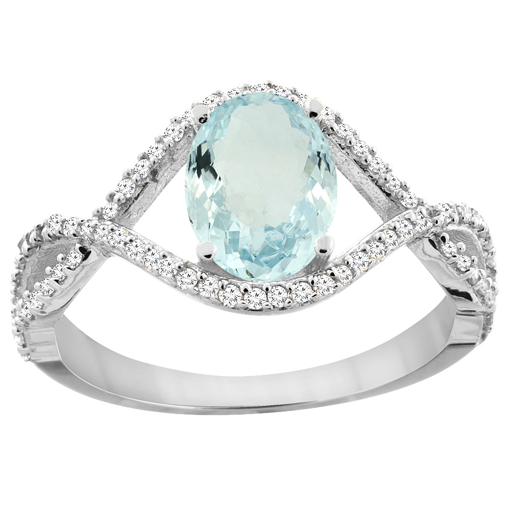 14K White Gold Natural Aquamarine Ring Oval 8x6 mm Infinity Diamond Accents, sizes 5 - 10