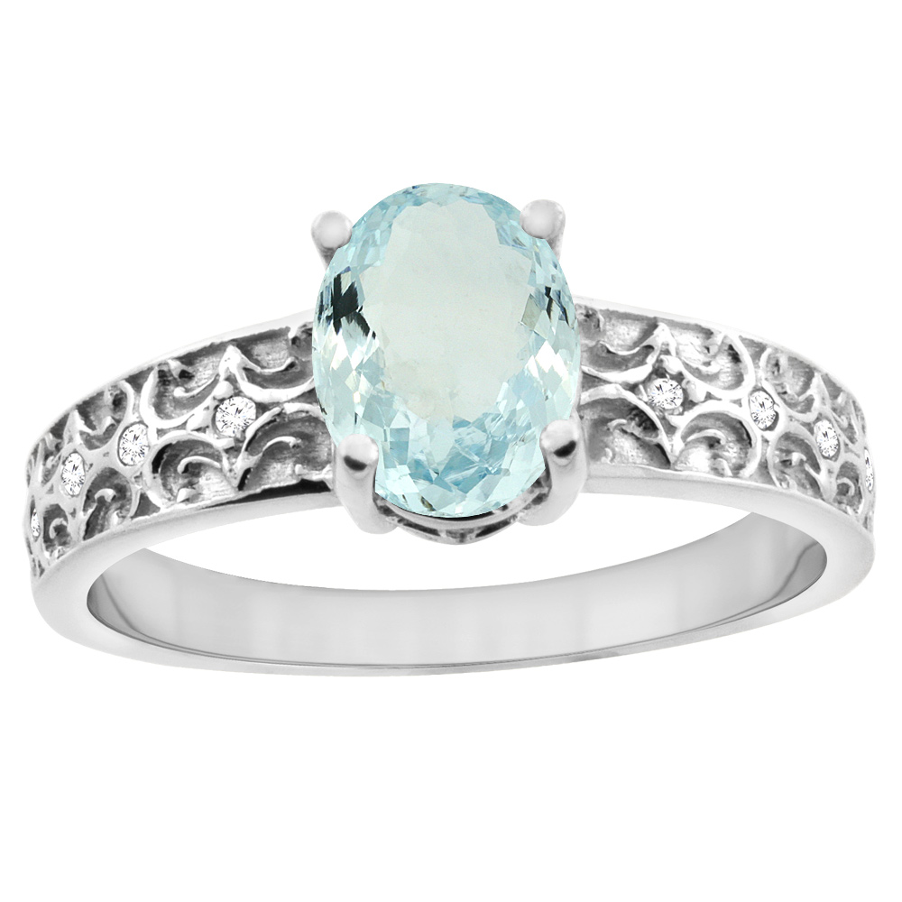 14K White Gold Natural Aquamarine Ring Oval 8x6 mm Diamond Accents, sizes 5 - 10