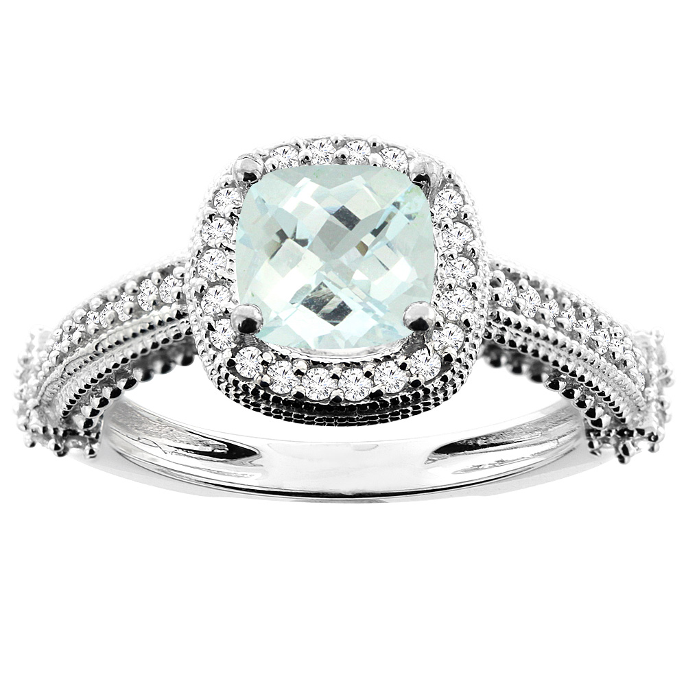 14K White/Yellow/Rose Gold Natural Aquamarine Ring Cushion 7x7mm Diamond Accent 7/16 inch wide, sizes 5 - 10