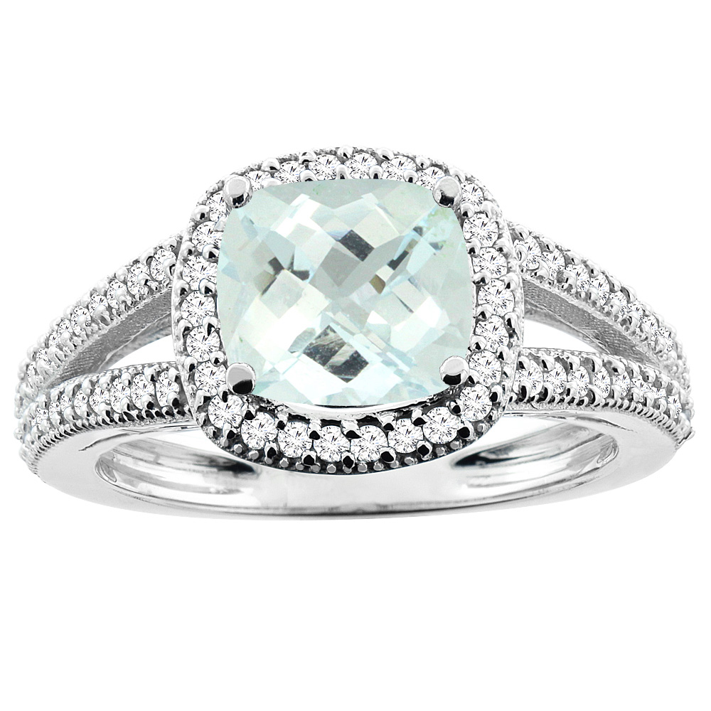 14K White Gold Natural Aquamarine Ring Cushion 7x7mm Diamond Accent 3/8 inch wide, sizes 5 - 10