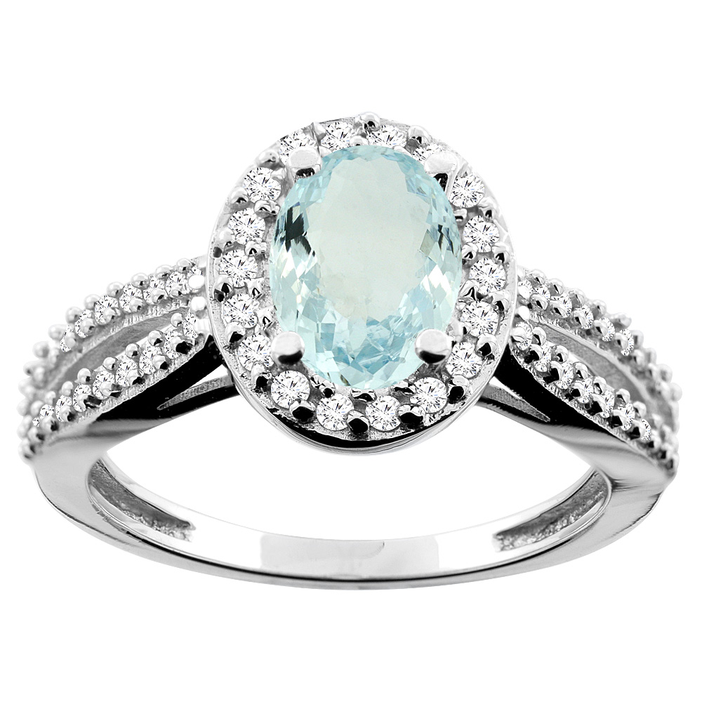 14K White/Yellow/Rose Gold Natural Aquamarine Ring Oval 8x6mm Diamond Accent, sizes 5 - 10