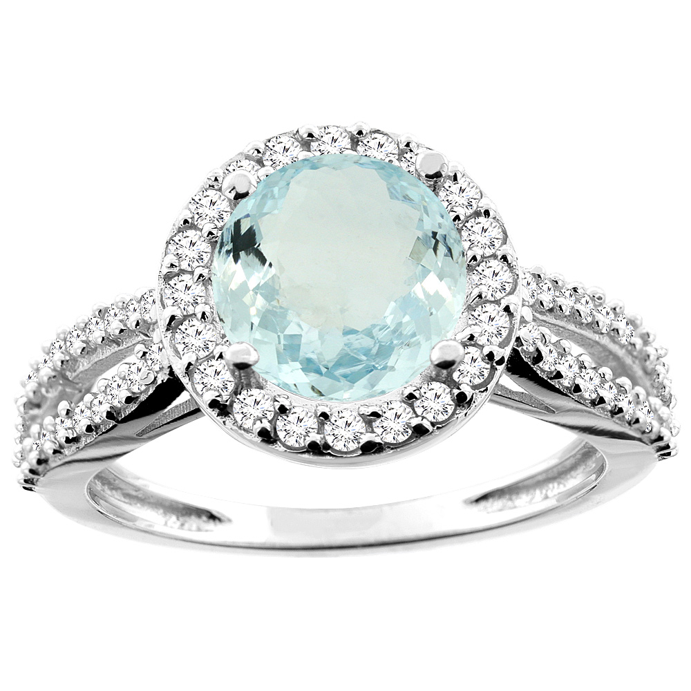 14K White/Yellow/Rose Gold Natural Aquamarine Ring Round 8mm Diamond Accent, sizes 5 - 10