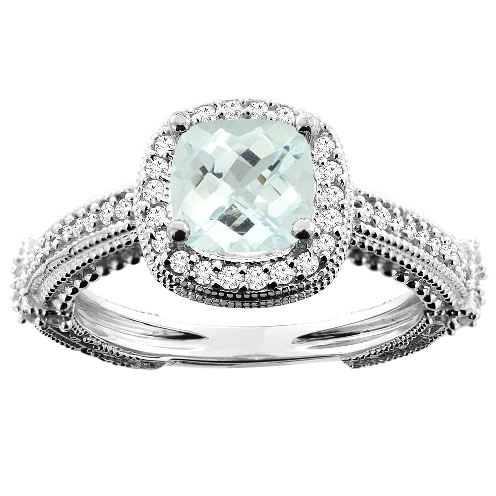 14K White/Yellow/Rose Gold Natural Aquamarine Ring Cushion 7x7mm Diamond Accent, sizes 5 - 10