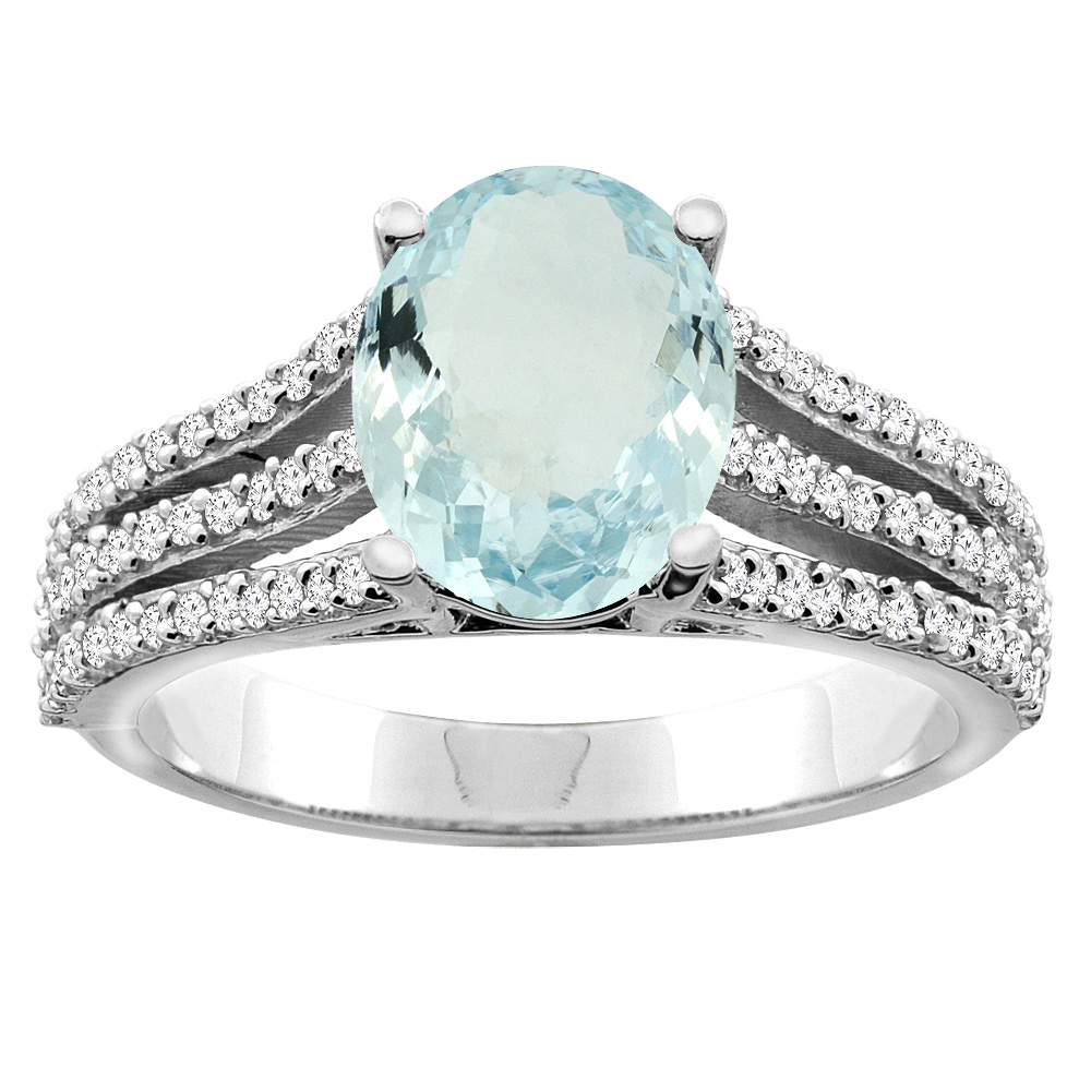 14K White/Yellow Gold Natural Aquamarine Tri-split Ring Cushion-cut 8x6mm Diamond Accents 5/16 inch wide, sizes 5 - 10