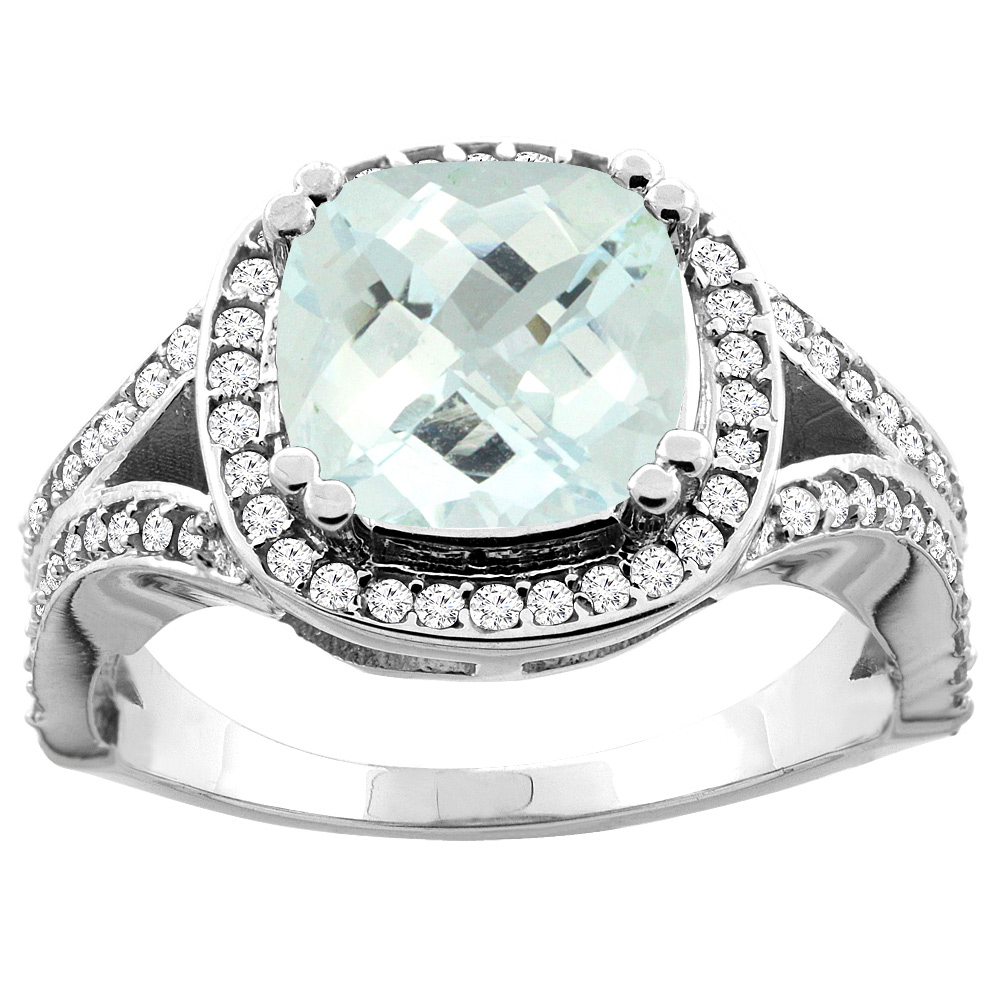 10K White/Yellow Gold Natural Aquamarine Split Ring Cushion 8x8mm Diamond Accent, sizes 5 - 10