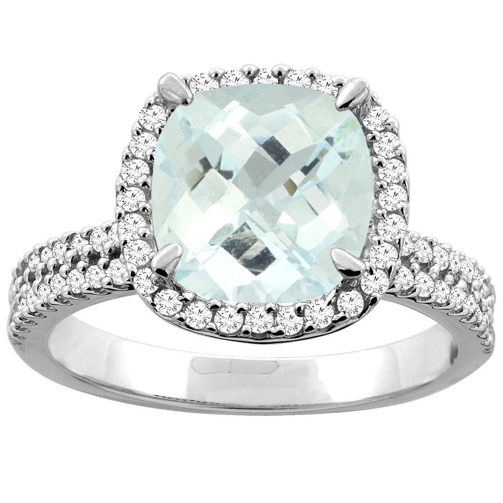 14K White/Yellow Gold Natural Aquamarine Halo Ring Cushion 9x9mm Diamond Accent, sizes 5 - 10