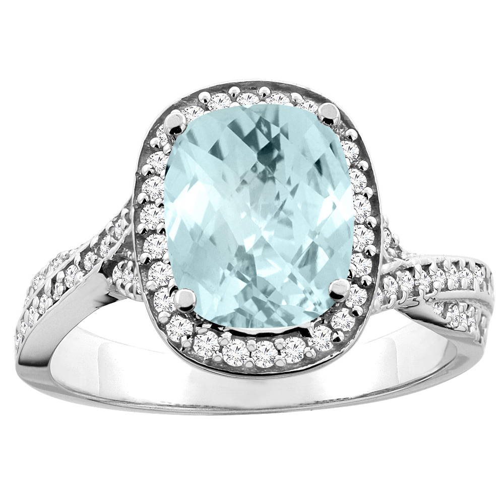 14K White/Yellow Gold Natural Aquamarine Halo Ring Cushion 9x7mm Diamond Accent, sizes 5 - 10