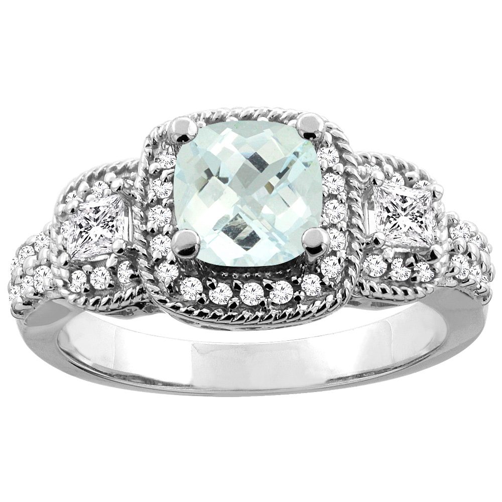 14K White/Yellow Gold Natural Aquamarine Ring Cushion-cut 6x6 mm Diamond Accent, sizes 5 - 10