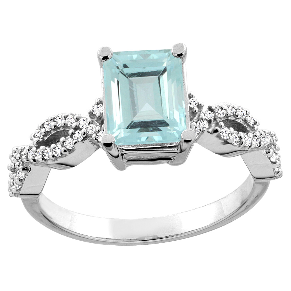 14K White/Yellow Gold Natural Aquamarine Eternity Ring Octagon 9x7mm Diamond Accent, sizes 5 - 10