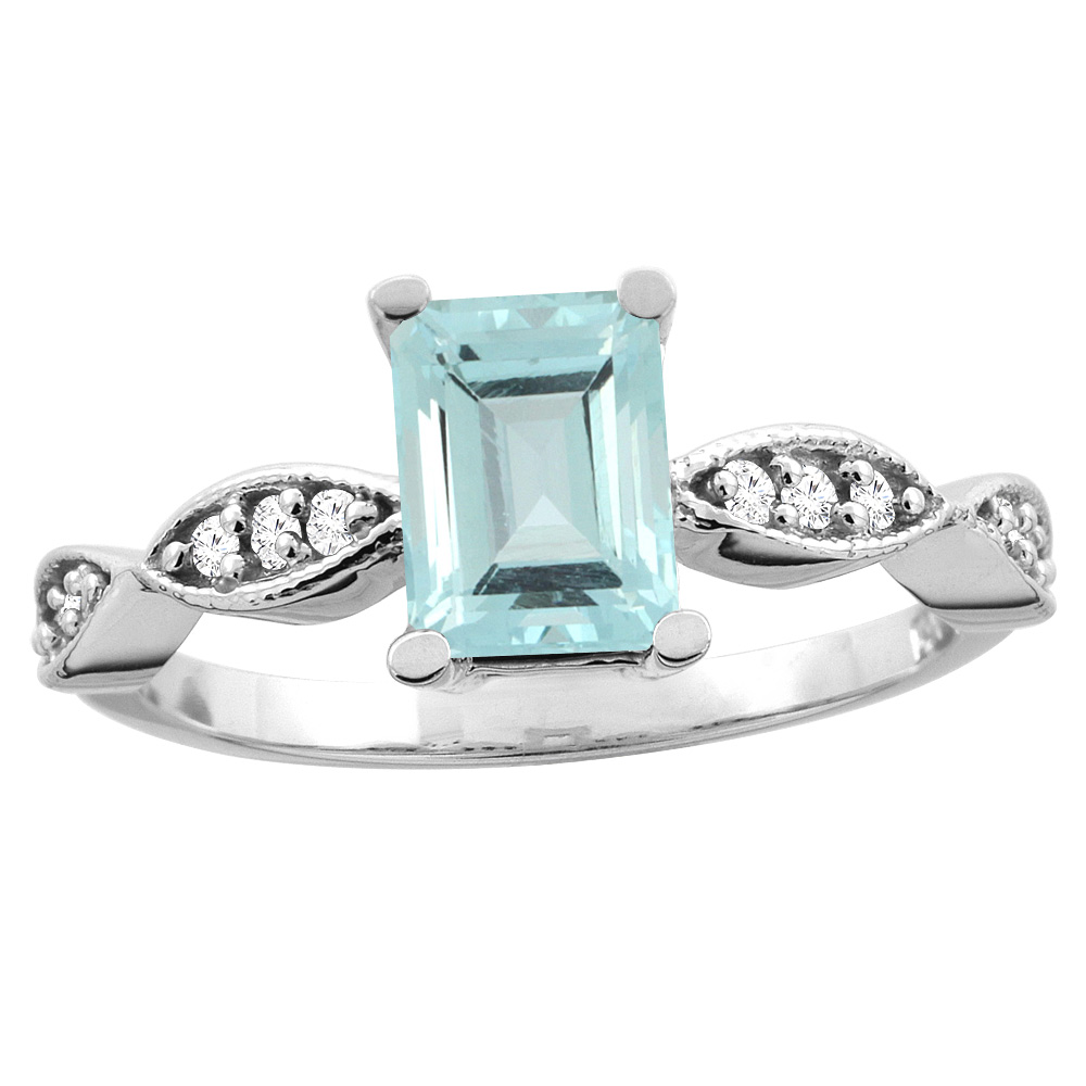 14K White/Yellow Gold Natural Aquamarine Ring Octagon 8x6mm Diamond Accent, sizes 5 - 10