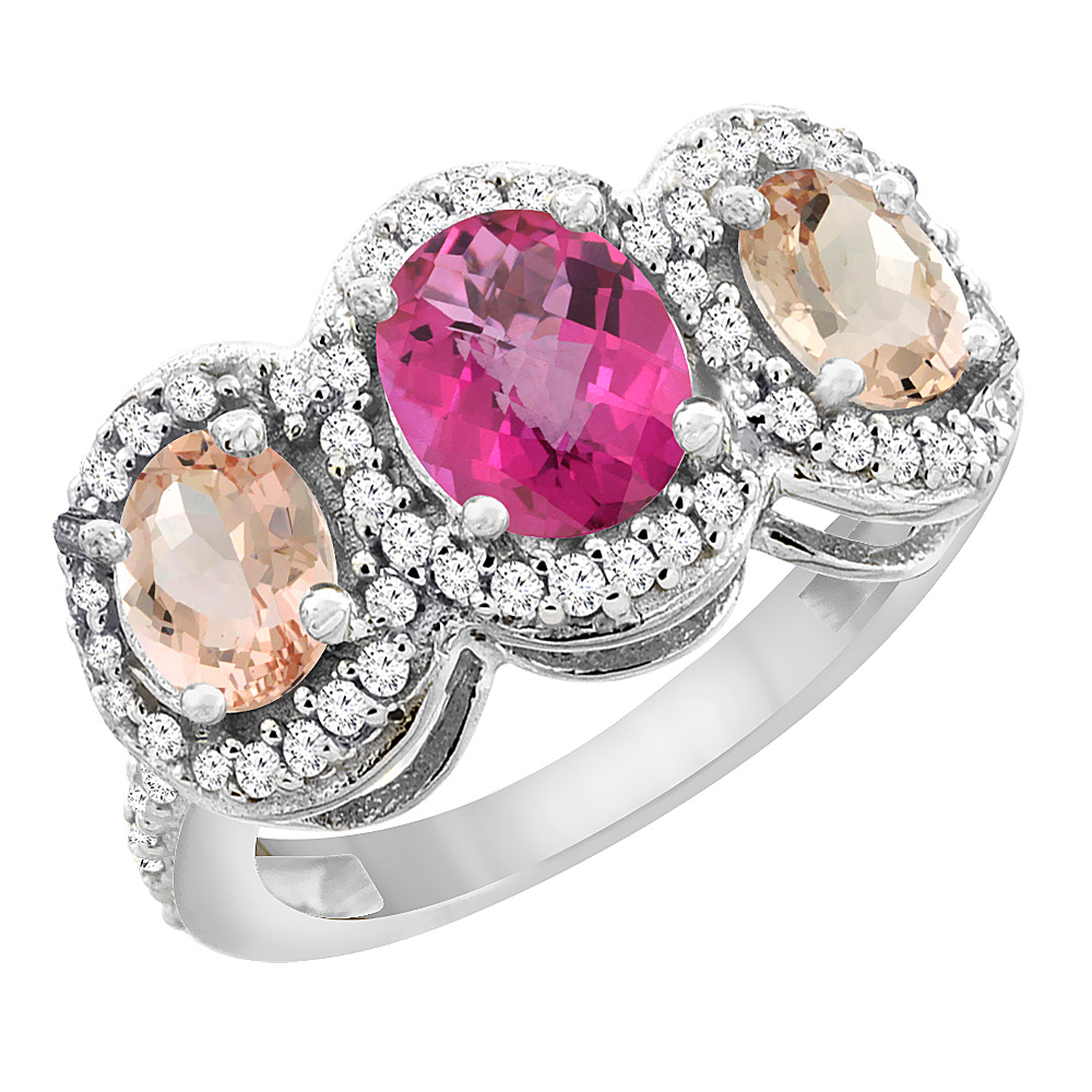 10K White Gold Natural Pink Sapphire & Morganite 3-Stone Ring Oval Diamond Accent, sizes 5 - 10