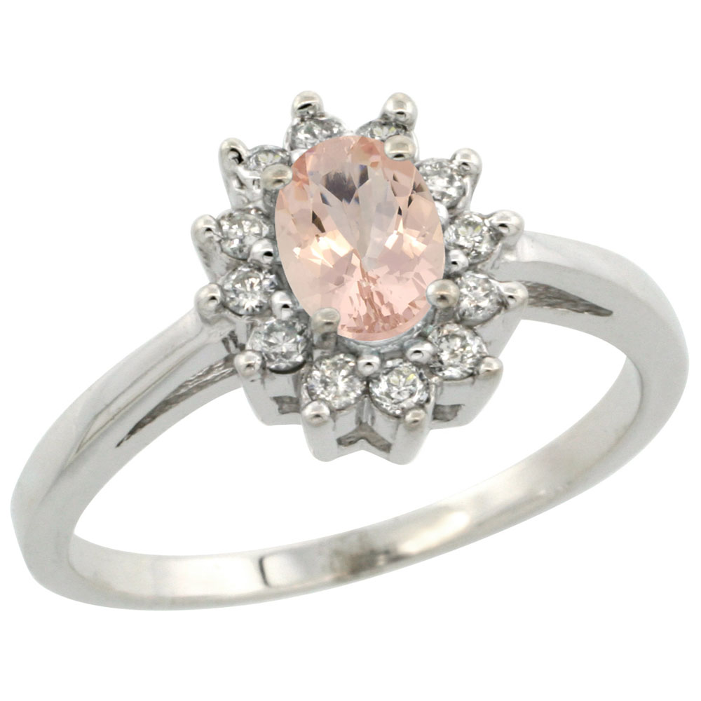 14K White Gold Natural Morganite Flower Diamond Halo Ring Oval 6x4 mm, sizes 5 10