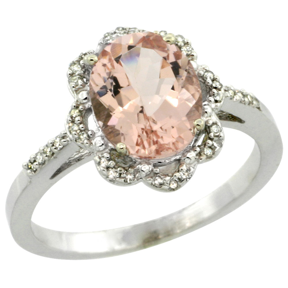 10K White Gold Diamond Halo Natural Morganite Engagement Ring Oval 9x7mm, sizes 5-10