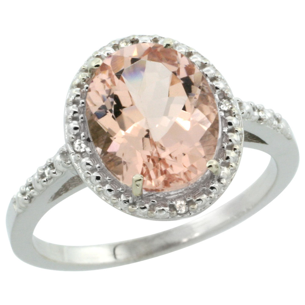 14K White Gold Diamond Natural Morganite Engagement Ring Oval 10x8mm, sizes 5-10