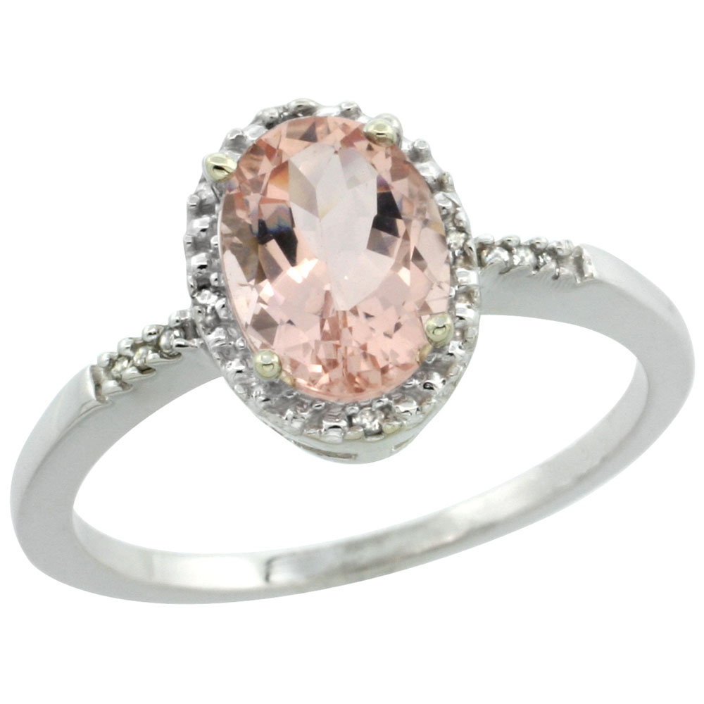 10K White Gold Diamond Natural Morganite Ring Oval 8x6mm, sizes 5-10