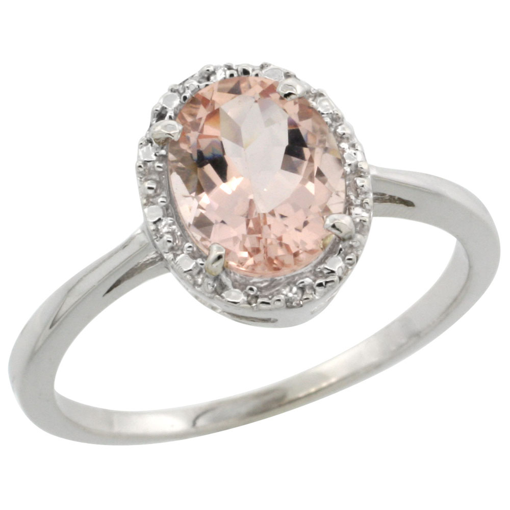 14K White Gold Natural Morganite Ring Oval 8x6 mm Diamond Halo, sizes 5-10