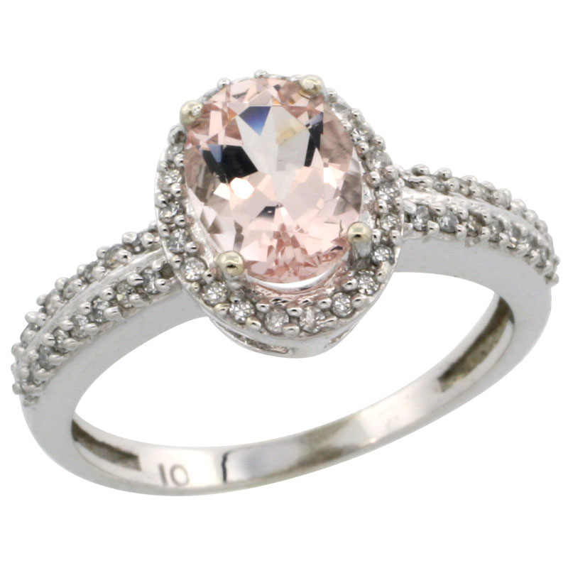 10k White Gold Natural Morganite Ring Oval 8x6mm Diamond Halo, sizes 5-10