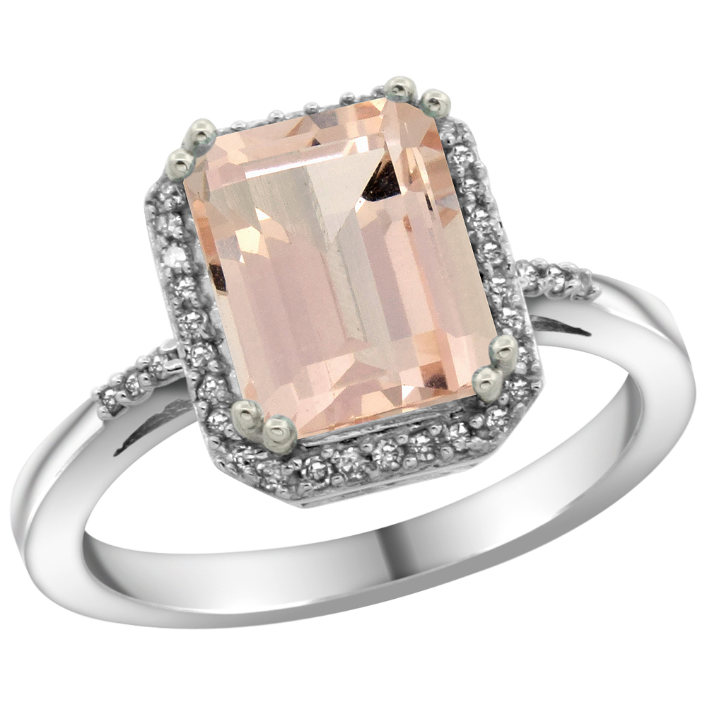 14K White Gold Diamond Natural Morganite Ring Emerald-cut 9x7mm, sizes 5-10