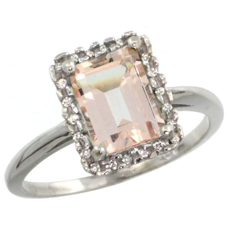 14K White Gold Diamond Natural Morganite Ring Emerald-cut 8x6mm, sizes 5-10