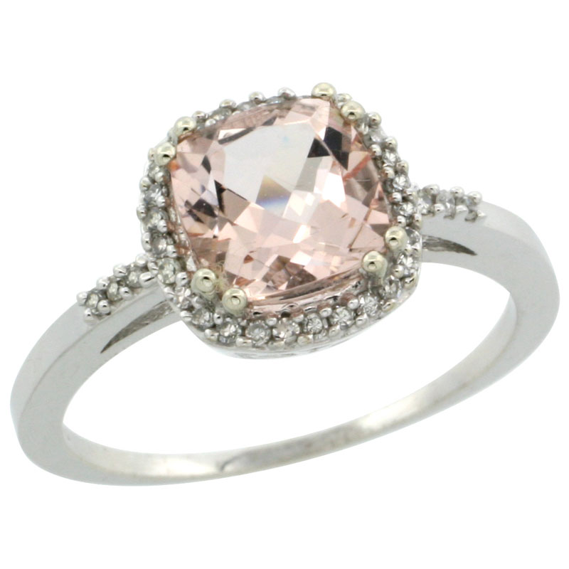 10K White Gold Diamond Natural Morganite Ring Cushion-cut 7x7mm, sizes 5-10