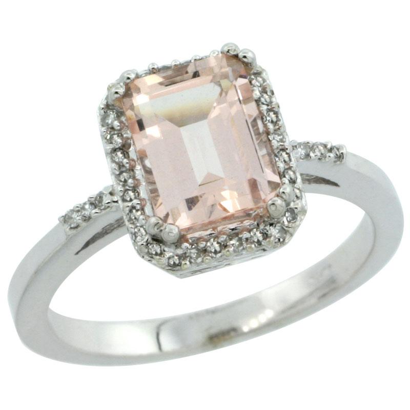 14K White Gold Diamond Natural Morganite Ring Emerald-cut 8x6mm, sizes 5-10