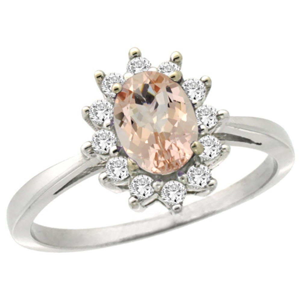 14K White Gold Natural Morganite Engagement Ring Oval 7x5mm Diamond Halo, sizes 5-10