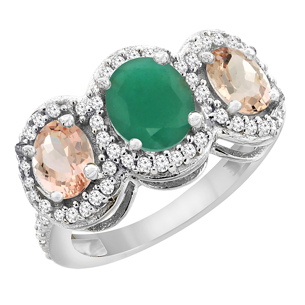 10K White Gold Natural Cabochon Emerald & Morganite 3-Stone Ring Oval Diamond Accent, sizes 5 - 10