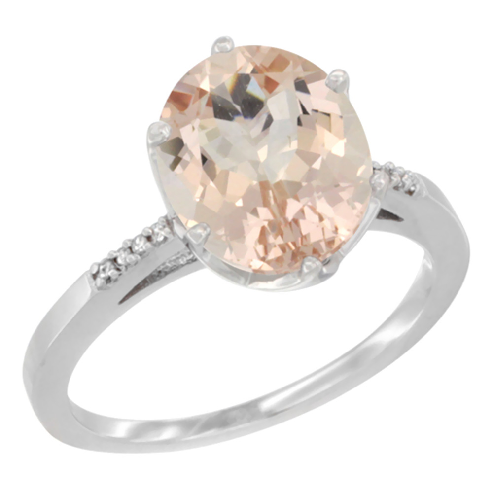 10K White Gold Natural Morganite Engagement Ring 10x8 mm Oval, sizes 5 - 10