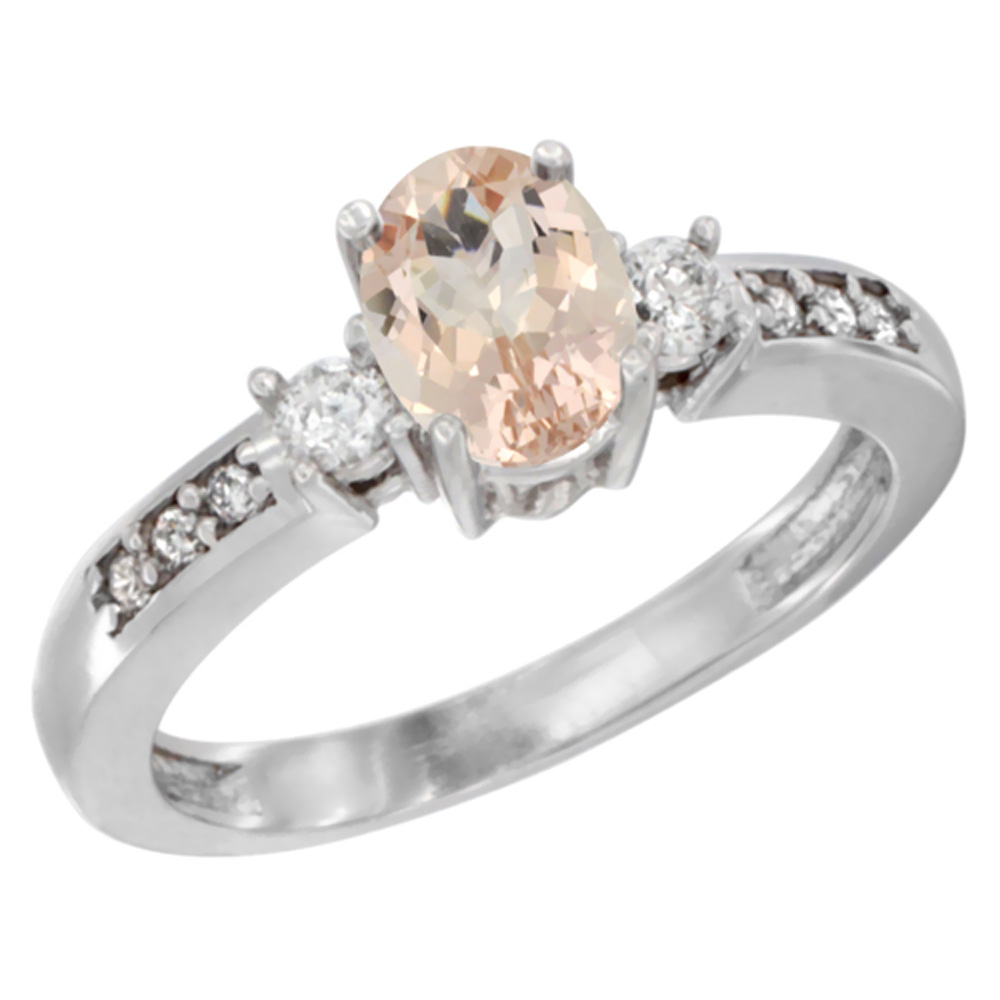 10K White Gold Diamond Natural Morganite Engagement Ring Oval 7x5 mm, sizes 5 - 10
